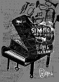 image of graffiti  - Symbolic image of the piano in the style of graffiti - JPG