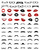 stock photo of hairy  - Big set of silhouettes of mustaches - JPG