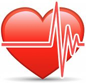 stock photo of beating-heart  - Heart Rate Vector Design Element Over White - JPG