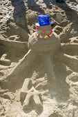 SANTA MONICA, CA - DECEMBER 02: Jordan Farmar's Sand Snowman at Kohl's Holiday Sandman Building Comp
