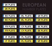set of european number plates