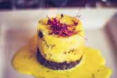 stock photo of haggis  - Scottish gourmet Haggis With Mash and garnish - JPG