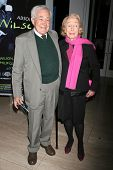 LOS ANGELES - DECEMBER 10: Jack Larson and Betty Freeman at the premiere of