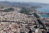 Malaga Downtown Seen From The Air.