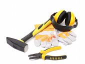 Protective ear muffs gloves and tools