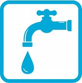 stock photo of spigot  - blue icon with tap and drop - JPG