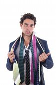 Undecided Man With Lot Of Ties Around His Neck