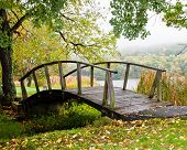 stock photo of virginia  - Foot Bridge at Peaks of Otter Lodge - JPG