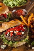 image of veggie burger  - Healthy Vegetarian Portobello Mushroom Burger with Cheese and Veggies - JPG