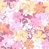 Vector seamless pattern with colorful flowers.
