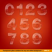 Set Of Transparent Glass Numbers