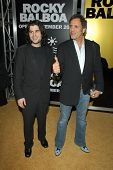 HOLLYWOOD - DECEMBER 13: Sage Stallone and Frank Stallone at the world premiere of