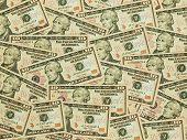 A Pile Of Ten Dollar Bills As A Money Background