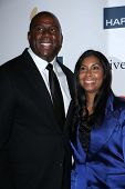Earvin Johnson, Cookie Johnson at the 2013 Clive Davis And Recording Academy Pre-Grammy Gala, Beverl