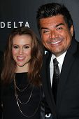 Alyssa Milano, George Lopez at Delta Airline's Celebration of LA's Music Industry, Getty House, Los Angeles, CA 02-07-13