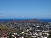 Diamondhead And The City Of Honolulu Of Oahu On A Clear Sky Day