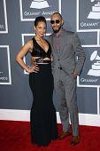 Alicia Keys, Swizz Beatz at the 55th Annual GRAMMY Awards, Staples Center, Los Angeles, CA 02-10-13