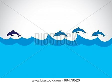 Young Blue Beautiful Energetic Dolphin Lead A Group Of Dolphins - Leadership Concept