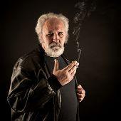 Grumpy Man With Cigarette