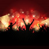 Silhouette of a party crowd on an abstract background