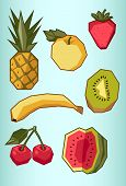 Set Of Fruit: Pineapple, Apple, Banana, Cherry, Strawberry, Watermelon, Kiwi