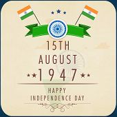 Poster, flyer or banner design for Indian Independence Day celebrations with national flags on brown background.