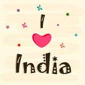 Stylish greeting card design with text I Love India with pink heart shape on beige background for 15th of August, Indian Independence Day celebrations.