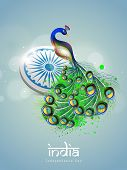 Indian national bird peacock with ashoka wheel on blue background for 15th of August, Indian Indepen