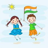 Happy cute little kids holding flag in nature background for Indian Independence Day celebrations.