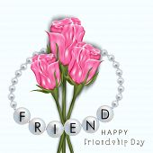 Shiny pink roses with silver pearl wristband on blue background for Happy Friendship Day celebration