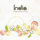 Beautiful floral decorated greeting card with stylish text India for Indian Independence Day celebra