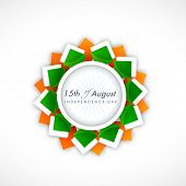 Beautiful sticky design in national flag colors for 15th of August, Indian Independence Day celebrat