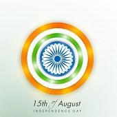 Stylish sticky in round shape on shiny green background for 15th of August, Indian Independence Day