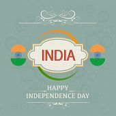 Poster, banner or flyer design for Indian Independence Day with badge.
