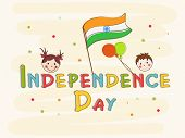 Indian Independence Day celebrations poster, banner or flyer design with cute little kids on abstrac