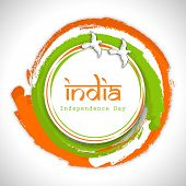 Beautiful circle in Indian National Flag colors with flying pigeons and stylish text India on grey b
