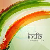 Stylish text India on Indian national flag colors background for 15th of August, Indian Independence