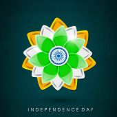 Beautiful floral design in national flag colors on grey background for 15th of August, Indian Indepe