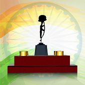Amar Jawan Jyoti with ashoka wheel on shiny national flag colour background for 15th of August, Indi