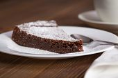 Chocolate Cake Slice On White Dish