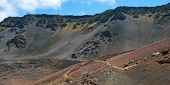 Haleakala Crater With Trails In Haleakala National Park On Maui Island Hawaii Panorama