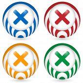Set Of Four Icon With Ban Symbol