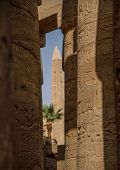 stock photo of obelisk  - The columns and reliefs at the Karnak Temple Complex with the Obelisk of Thutmosis I in the background Luxor Egypt - JPG