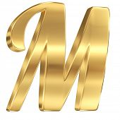 Golden shining metallic 3D symbol letter M - isolated on white.