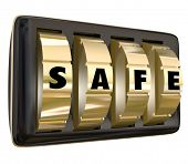Safe word on gold dials of a lock to keep your information, documents valuables protected