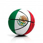 Basketball ball flag of Mexico isolated on white background