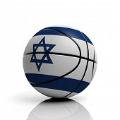 Basketball ball flag of Israel isolated on white background