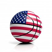 Basketball ball flag of USA isolated on white background
