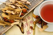 ingredients for a cup of tea in traditional chinese medicine. cure of diseases by alternative method