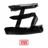 Chinese number word, five, in traditional ink calligraphy style.